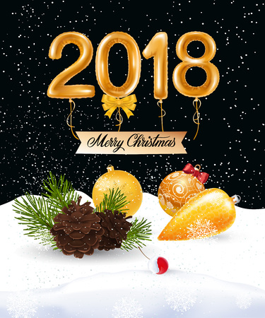 2018, merry Christmas lettering on hanging ribbon with baubles, berry and fir sprig. Calligraphic inscription can be used for greeting cards, festive design, posters, banners. Illustration