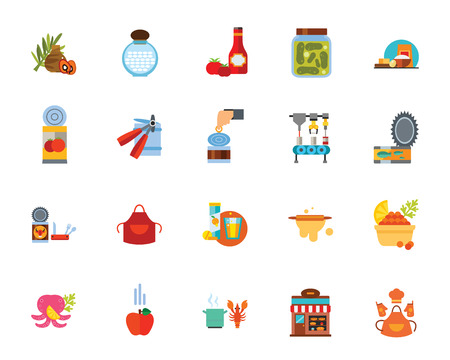 Canned food icon set