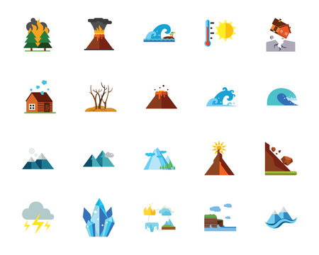 Natural disaster icon set.