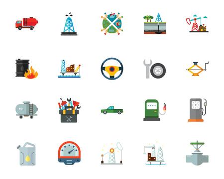 Oil production icon set.