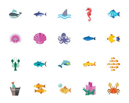 Sea creatures icon set