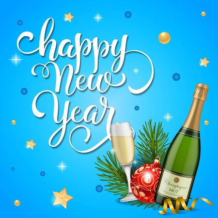 Happy New Year Lettering with Champagne Vector illustration.