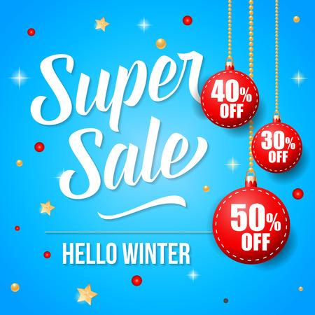 Super sale, hello winter lettering with bauble-shaped hanging tags. Calligraphic inscription can be used for leaflets, festive design, posters, banners.