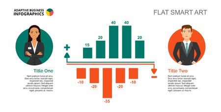 Five Bars Chart Slide Template Illustration