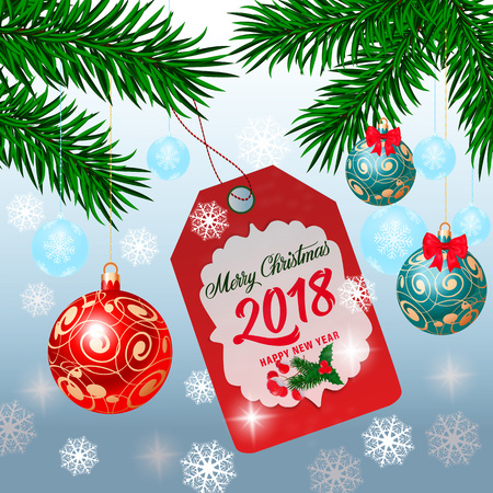 Christmas and New Year Lettering on Tag