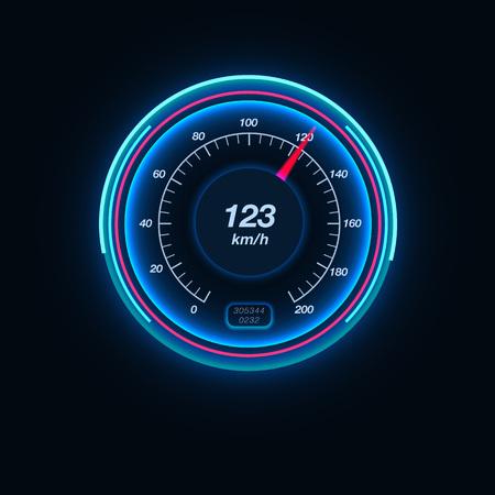 Auto snelheidsmeter met verlichting. Hoge snelheid, display, voertuig, meter. Race concept. Kan worden gebruikt voor wenskaarten, posters, folders en brochure