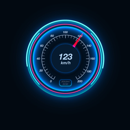 Car speedometer with illumination. Fast speed, display, vehicle, gauge. Race concept. Can be used for greeting cards, posters, leaflets and brochure
