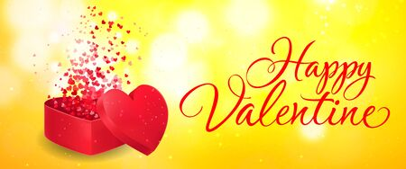 Happy Valentine lettering with heart shaped gift box and confetti. Calligraphic inscription can be used for greeting cards, festive design, posters, banners. Illustration