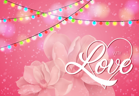 With Love lettering on pink background with flower illustration.