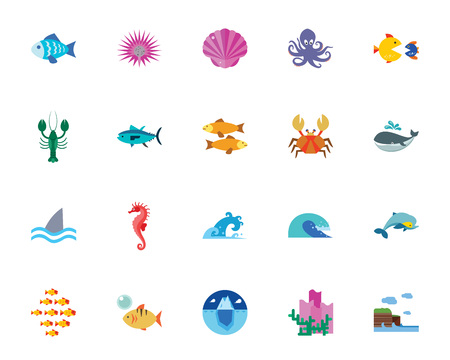 Ocean icon set. Can be used for topics like sea creatures, habitant, fish, wildlife