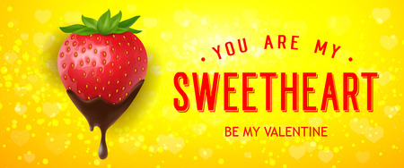 Be My Valentine Lettering with Strawberry  イラスト・ベクター素材