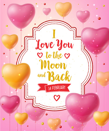 I Love You Lettering with Balloons Illustration