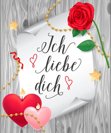 Ich Liebe Dich Lettering on Paper Scroll
