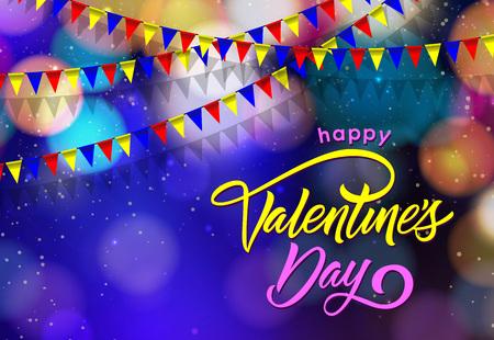 Happy Valentines Day Lettering Ilustração
