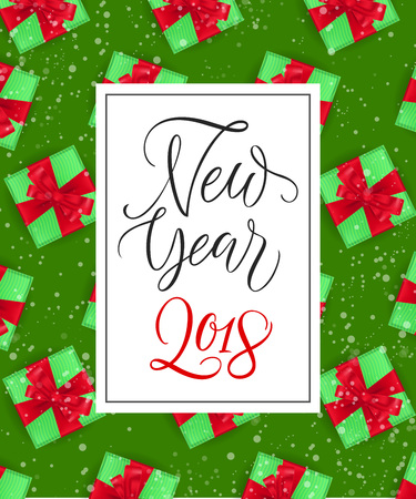 New Year Lettering with Present Boxes Ilustracja