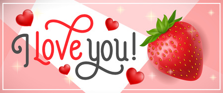 I Love You Lettering with Strawberry.