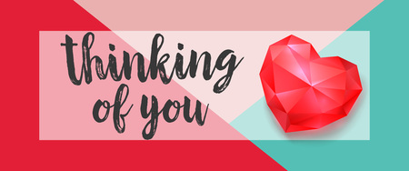 Thinking of You Lettering with Ruby Heart