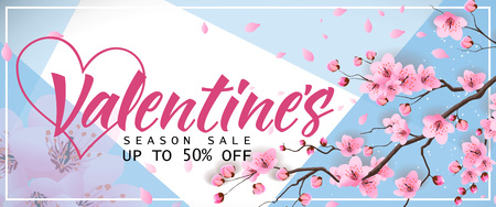 Valentines Season Sale Banner with Sakura