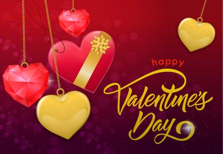 Happy Valentine Day Inscription and Hearts