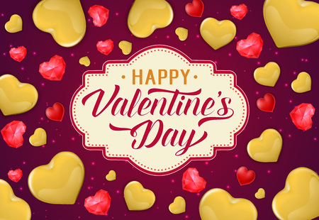 Happy Valentines Day Lettering on Label Illustration