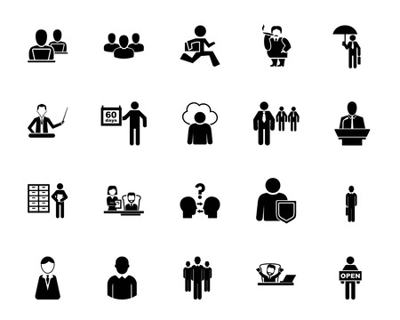 Office employee icon set. Businesspeople, job, career. Office worker concept. Can be used for topics like business, employment, occupation Illustration