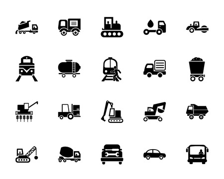 Transportation icon set. Can be used for topics like vehicle, machinery, industry, truck