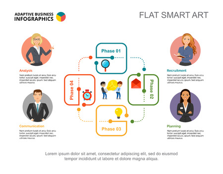 Four step process chart slide template. Business data. Cycle diagram, employee, design. Creative concept for infographic, project. Ilustração
