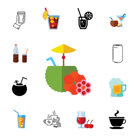 Cocktails icon set. Can be used for topics like drink, beverage, restaurant, bar, alcohol Çizim
