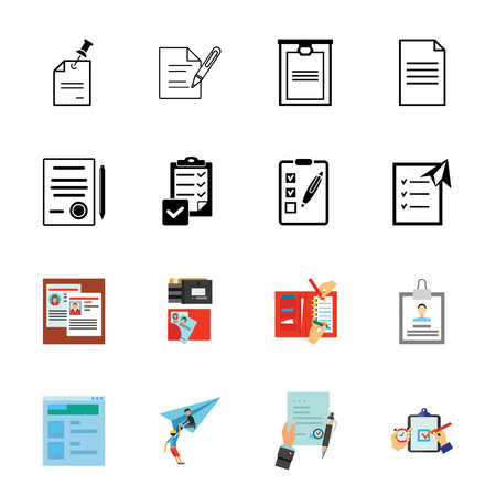 Business documents icon set. Can be used for topics like papers, to-do list, tasks, correspondence Illustration