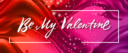 Be my Valentine lettering in frame vector illustration