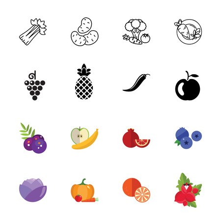 Fruits and vegetables icon set Illustration