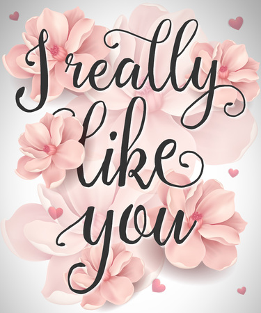 I really like you lettering with blossoms and heart silhouettes. Calligraphic inscription can be used for greeting cards, romantic messages, posters, banners.