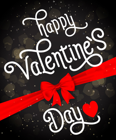 Happy Valentines day lettering with red bow and heart on black background. Calligraphic inscription can be used for greeting cards, festive design, posters, banners.