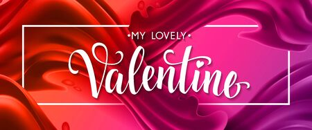 My lovely Valentine lettering in frame with heart on undulated background. Calligraphic inscription can be used for greeting cards, festive design, posters, banners.