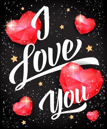 I love you lettering with ruby hearts and stars on black background. Calligraphic inscription can be used for greeting cards, romantic messages, posters, banners.