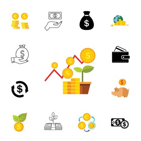 Jeu d'icônes d'opérations financières pouvant être utilisé pour des sujets tels que le financement, l'argent, les pièces de monnaie, les revenus. Vecteurs
