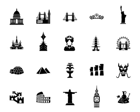Attractions icon set Stock Vector - 93082078