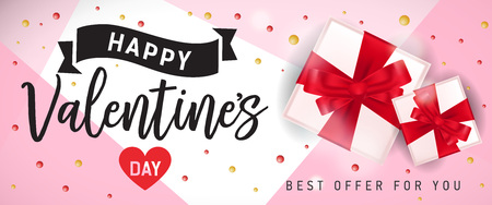 Happy Valentines day, best offer for you lettering with gift boxes on pink background. Calligraphic inscription can be used for greeting cards, festive design, posters, banners.