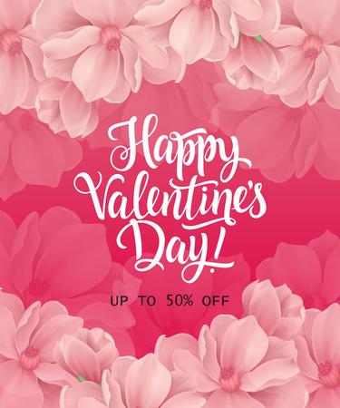 Buon San Valentino, fino al cinquanta per cento di sconto scritte su sfondo rosa con fiori. L'iscrizione calligrafica può essere utilizzata per volantini, design festivo, poster, banner. Archivio Fotografico - 93082749