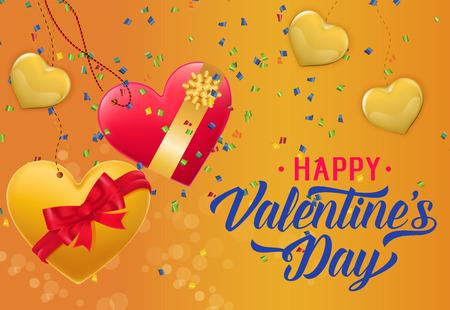 Happy Valentine Day Lettering and Confetti.