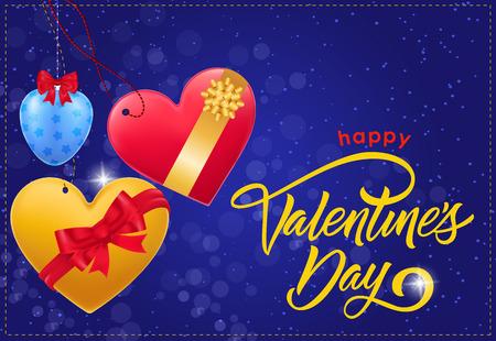 快乐情人节刻字。爱心和蝴蝶结的情人节贺卡。手写和打字文字,书法。用作贺卡、海报、传单及小册子。