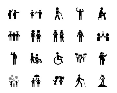 People icon set. Can be used for topics like citizen, society, family, community