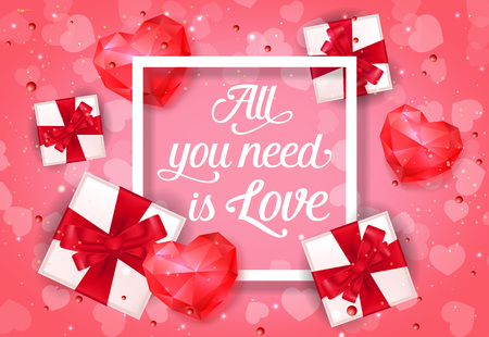 All You Need is Love Poster with Gifts Illustration