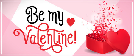 Be My Valentine Lettering with Confetti Illustration
