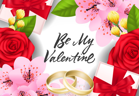 Be my Valentine lettering with wedding rings, present boxes and flowers. Calligraphic inscription can be used for greeting cards, festive design, posters, banners Illustration