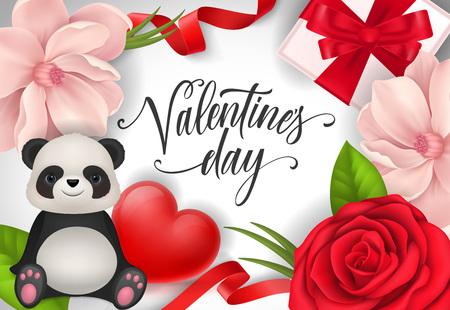 Valentines Day Postcard Design with Panda