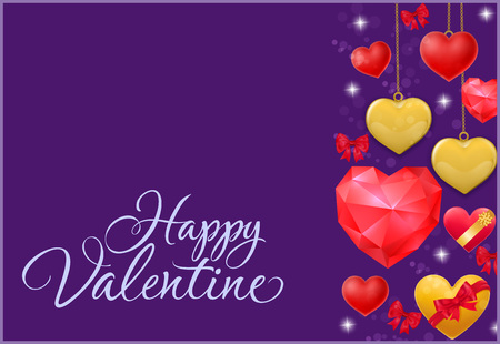 Happy Valentine calligraphic lettering. Valentines Day greeting card with red polygon hearts and yellow hanging hearts. Handwritten text can be used for postcards, posters, leaflets Illustration