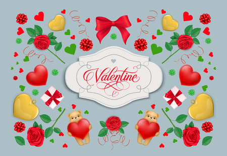 Valentine calligraphic lettering in frame. Saint Valentines Day greeting card with hearts, roses, gift boxes and cute teddy bears. Handwritten text can be used for postcards, posters, leaflets