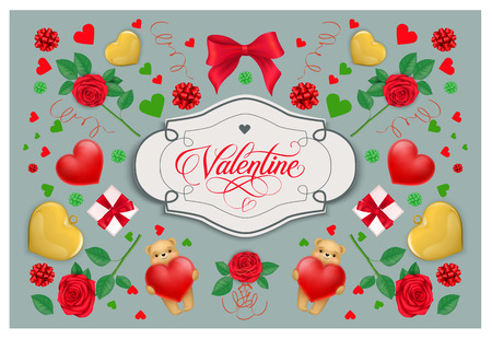 Valentine vintage lettering in frame. Saint Valentines Day greeting card with hearts, roses, gift boxes and cute teddy bears. Handwritten text can be used for postcards, posters, leaflets