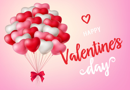 Happy Valentines Day lettering. Valentines Day greeting card with heart-shaped balloons on pink background. Calligraphic inscription can be used for postcards, posters, leaflets Illustration